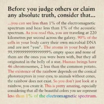 Before you judge others or claim any absolute truth, consider that...