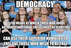 Democracy is the means by which those who adore authority and crave the security of servitude can use their superior numbers to enslave those who wish to be free.