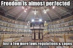 Freedom is almost perfected - Just a few more laws, regulations & cages.