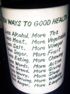 Health - Ten Ways to Good Health