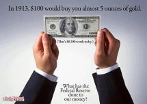 In 1913, $100 would buy you almost 5 ounces of gold. What has the Federal Reserve done to our Money?