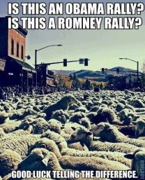 Is this an Obama rally? Is this a Romney rally? Good luck telling the difference.