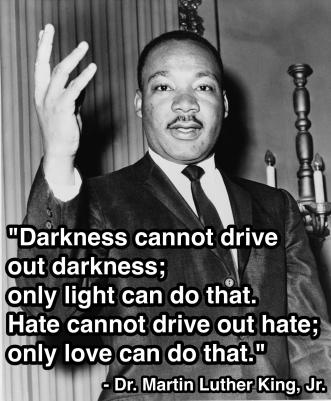 Martin Luther King Jr. - Darkness cannot drive out darkness; only light can do that. Hate cannot drive out hate; only love can do that.