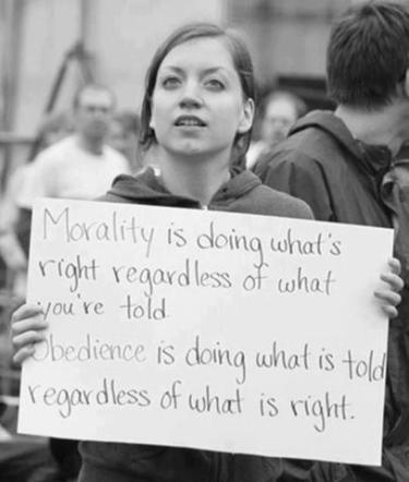 Morality is doing what's right regardless of what you're told, Obedience is doing what is told regardless of what is right
