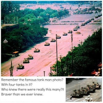 Remember the famous tank man photo? With four tanks in it? Who knew there were really this many?!! Braver than we ever knew.