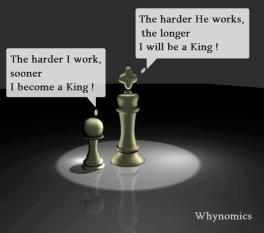 The harder I work, sooner I become a King! The harder he works the longer I will be a King!