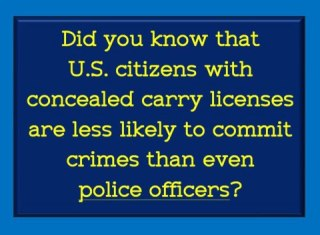 US citizens with concealed carry licenses are less likely to commit crimes than even police officers