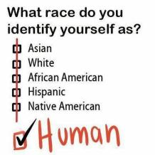 What race do you identify yourself as? Human